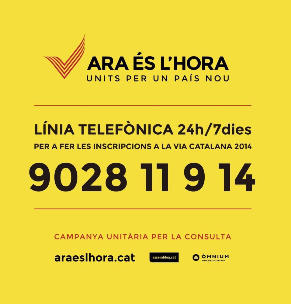 Inscripcions per telèfon a la Via Catalana 2014