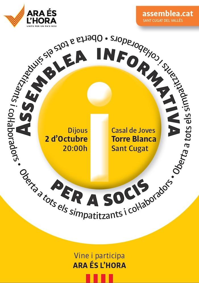 Vine a l'Assemblea de socis i simpatitzants de dijous 2 d'Octubre