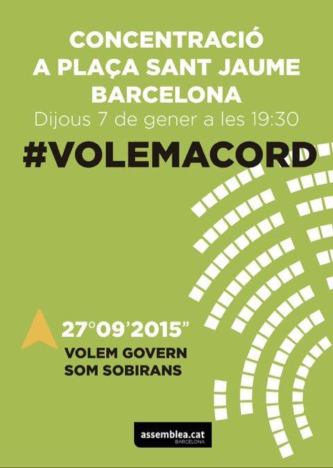 Volemacord concentraci 7 gener a pla a sant jaume - Placa barcelona sant cugat ...